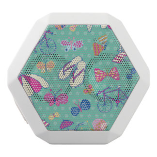 Beautiful Pattern With Summer Elements White Boombot Rex Bluetooth Speaker