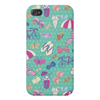 Beautiful Pattern With Summer Elements iPhone 4 Cover