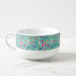 Beautiful Pattern With Summer Elements Soup Bowl With Handle