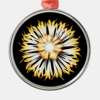 Beautiful Patterned Ornament. Silver-Colored Round Decoration