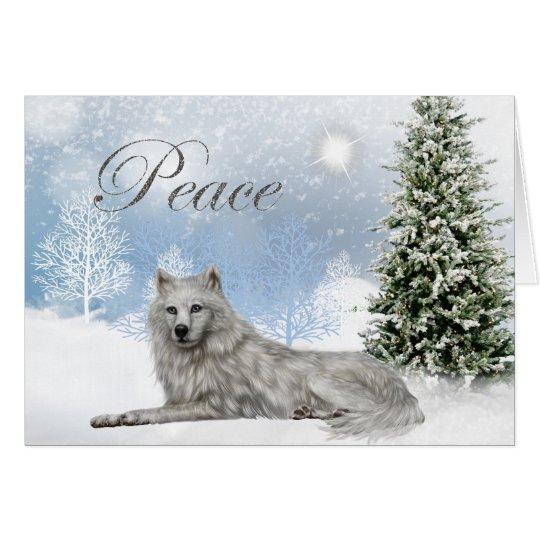 Beautiful Peace Wolf Christmas Card