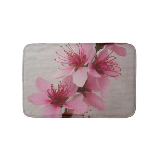 Beautiful Peach Blossom Bath Mat