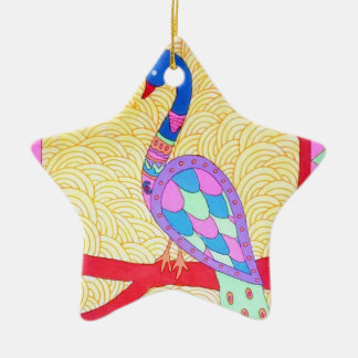 Beautiful Peacock Ceramic Star Decoration