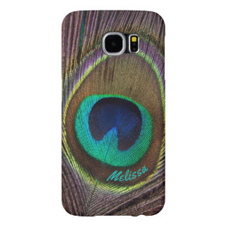 Beautiful Peacock Feather Eye, Your Name Samsung Galaxy S6 Cases