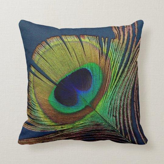 beautiful peacock feather original photo art cushion