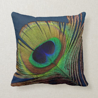 beautiful peacock feather original  photo art cushion