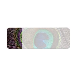 Beautiful Peacock Feather Return Address Label