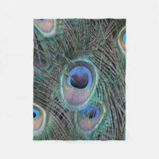 Beautiful Peacock Feathers Fleece Blanket