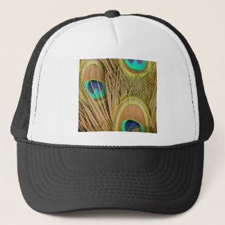 beautiful peacock feathers trucker hat