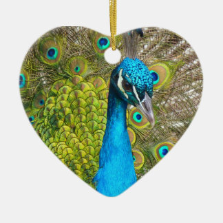 Beautiful Peacock Stunning Green Bird Christmas Ornament