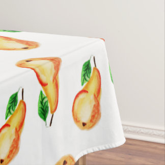 Beautiful pears watercolor design, bright tablecloth