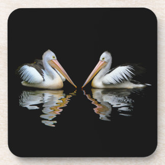 Beautiful pelicans reflection on black background coaster