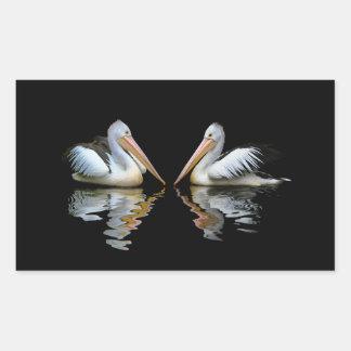 Beautiful pelicans reflection on black background rectangular sticker