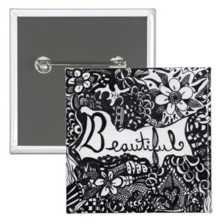 Beautiful Pen 15 Cm Square Badge