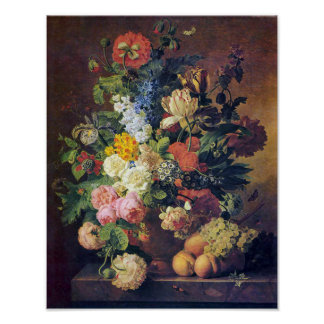 Beautiful Peonies, Tulips, and Peaches Poster
