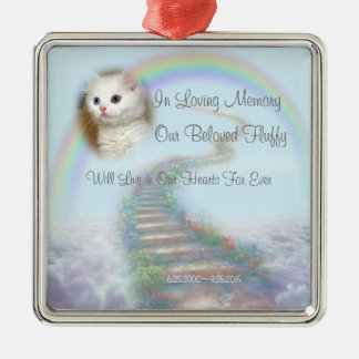 Beautiful Personalised Cat or Dog Memorial Silver-Colored Square Decoration
