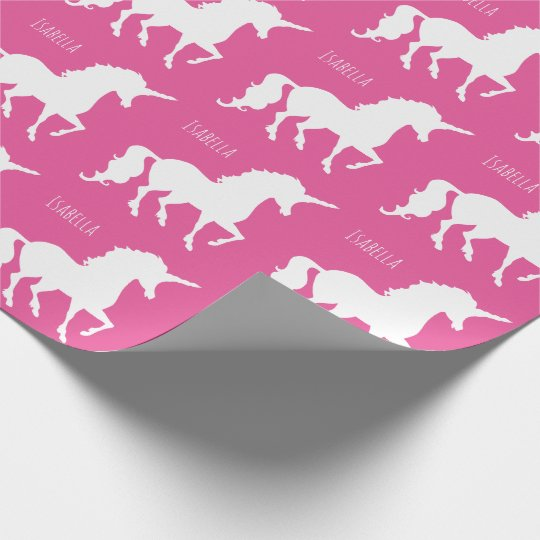 Beautiful Personalised Pink Unicorn Silhouette Wrapping Paper