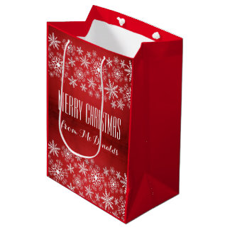 Beautiful personalised red and white gift bag medium gift bag
