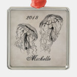 Beautiful Personalised Vintage Jellyfish Beach Silver-Colored Square Decoration