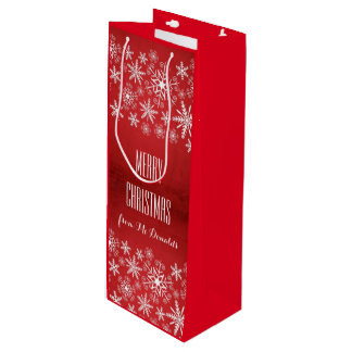 Beautiful personalized red and white gift bag wine gift bag