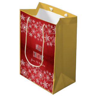 Beautiful personalized red, yellow, white gift bag medium gift bag