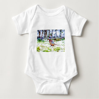 Beautiful Pheasant On Snow Covered Grass Baby Bodysuit