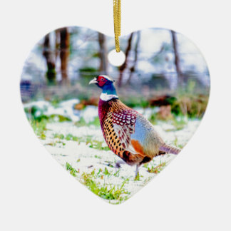Beautiful Pheasant On Snow Covered Grass Christmas Ornament