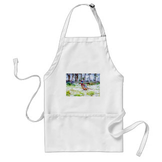 Beautiful Pheasant On Snow Covered Grass Standard Apron