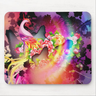 beautiful phoenix bird colourful background image mouse pad