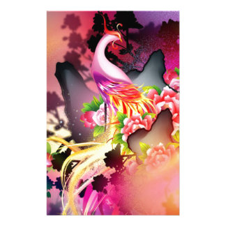 beautiful phoenix bird colourful background image stationery