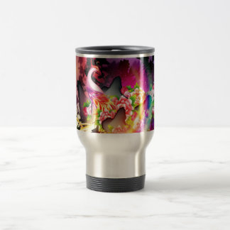 beautiful phoenix bird colourful background image travel mug