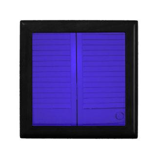 Beautiful photograph of blue doors, abstract art gift box