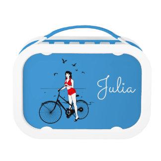 Beautiful pin-up girl on bicycle. Elegant stylish Lunch Box