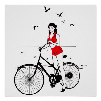 Beautiful pin-up girl on bicycle. Elegant stylish Poster