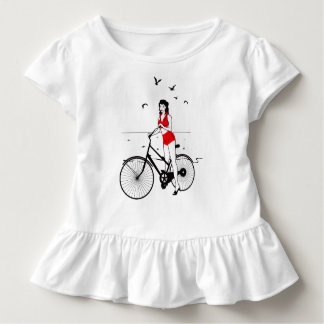 Beautiful pin-up girl on bicycle. Elegant stylish Toddler T-Shirt
