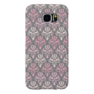 Beautiful Pink and Gray Damask Pattern Samsung Galaxy S6 Cases