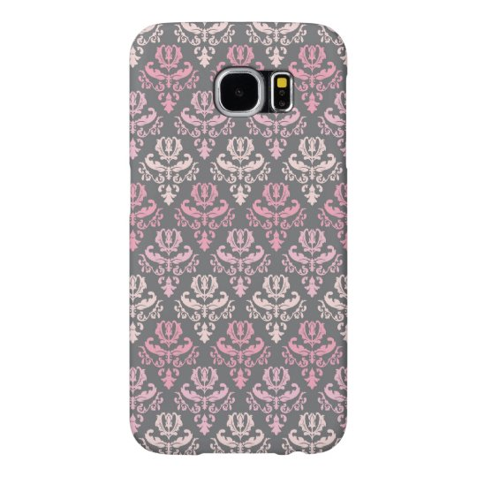 Beautiful Pink and Grey Damask Pattern Samsung Galaxy