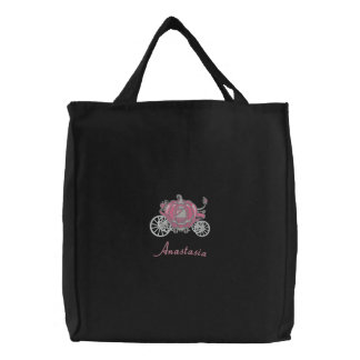Beautiful Pink And Silver Pumpkin Carriage Canvas Bags