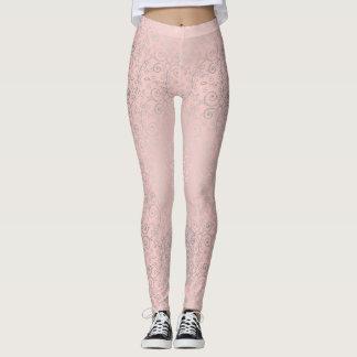 Beautiful Pink and Silver Swirl Boho Girl Leggings