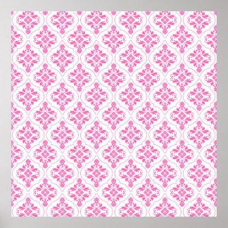 Beautiful Pink and White Damask Pattern Posters