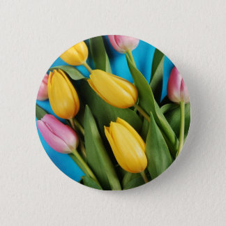 Beautiful pink and yellow spring tulips 6 cm round badge