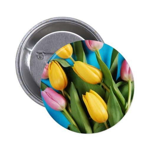 Beautiful pink and yellow spring tulips pinback buttons