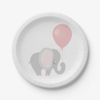 Beautiful Pink Baby Elephant Paper Plate
