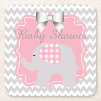 Beautiful Pink Baby Shower Adorable Elephant Square Paper Coaster