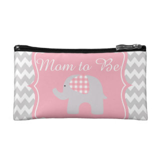 Beautiful Pink Baby Shower Party Custom Elephant Cosmetic Bags