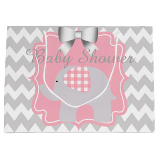 Beautiful Pink Baby Shower Party Custom Elephant Large Gift Bag