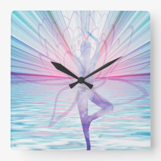 Beautiful Pink & Blue Vrikshasana Yoga Clock