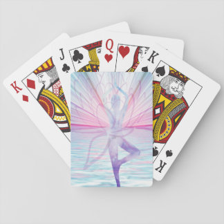 Beautiful Pink & Blue Vrikshasana Yoga Playing Cards