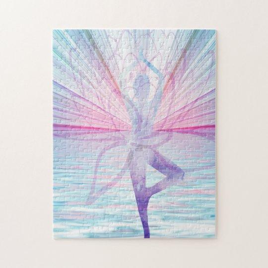 Beautiful Pink & Blue Vrikshasana Yoga Puzzle