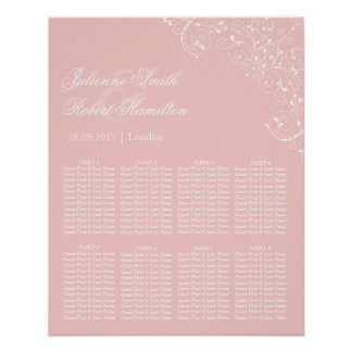 Beautiful Pink Blush Vintage Wedding Seating Chart